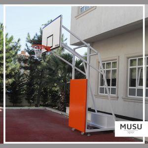 Basketbol Potası 4 Direk Tekerlekli Ağırlıklı Seyyar Ön Koruyuculu